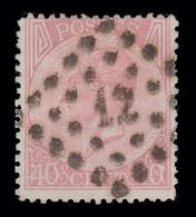 """COB N° 20 - 40 Cm Rose Pâle - Obl. """"CONCOURS""""  Losange De Points - Bureau N° 12 (ANVERS) - 1865-1866 Linksprofil"""