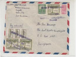 Brief Aus BOGOTA 17.4.1950 Nach Singapore / Senkrecht Gefaltet - Vignette Rückseitig - Colombia