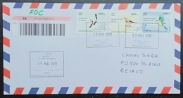 Lebanon NEW 2019 Complete Set 3v. Intnl Day Of Migrant Birds, Heron - Travelled First Day Cover, Sent Registered, FDC - Lebanon