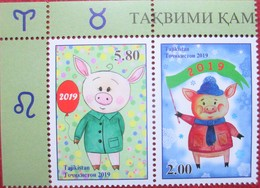 Tajikistan  2019  Year Of The Pig, Lunar New  Year  2 V   MNH - Nouvel An Chinois