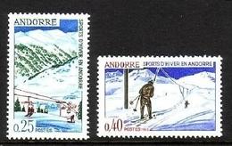 FRANZÖSISCH ANDORRA MI-NR. 195-196 ** WINTERSPORT 1966 SKIFAHREN - Ungebraucht