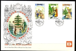 ISLE OF MAN MI-NR. 348-350 FDC WEIHNACHTEN CHRISTMAS 1987 - Christmas
