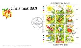 GUERNSEY MI-NR. 470-481 FDC KLEINBOGEN WEIHNACHTEN 1989 CHRISTBAUMSCHMUCK - Christmas