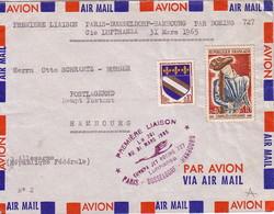 PARIS - 1er LIAISON AERIENNE DIRECTE PARIS-DUSSELDORF-HAMBOURG PAR BOING 747 - 31-3-1965 - Airmail