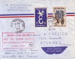 ARDENNES - 1er LIAISON AERIENNE PARIS-ROME-ATHENES-ISTANBUL PAR CARAVELLE AIR FRANCE - 6-5-1959 - Airmail