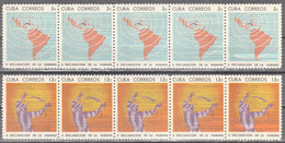 CUBA     SCOTT NO. 931-32   STRIP OF 5--FOLDED     MNH        YEAR  1964 - Unused Stamps
