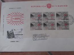 1962 Foglietto Europa Unita CEPT Su Busta Primo Giorno 6 Valori - San Marino