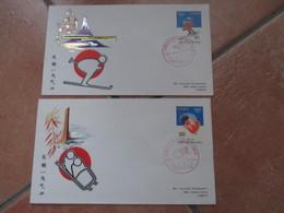 1972 Japon Olimpiadi Invernali SAPPORO  N.2 Buste Annulli Speciali Bob E Sci - Sci