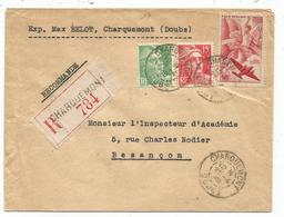 PA 50FR+ BLASONS 15FR+5FR LETTRE REC CHARQUEMONT DOUBS 25.4.1949 - Postmark Collection (Covers)