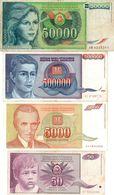 Lot Billets De La Yougoslavie  1de 50000-1 De 500000-1 De 5000 - 1 De 50 Dinara- Années 1988-1993-1990 - T T B - - Yugoslavia