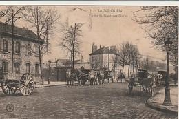 Rare Cpa St Ouen Place De La Gare Des Docks Très Belle Animation - Saint Ouen