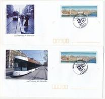 """Série 5 PAP """"Tramway De Marseille"""" Avec Oblitération Temporaire """"Lancement Du Tramway 30 Juin 2007 - MARSEILLE"""" - Postwaardestukken"""