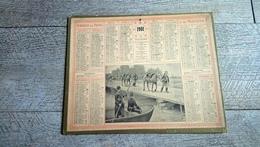 Calendrier 1901  Almanach Des Postes Passage De La Rivière Militaire Signé Eugène Chaperon - Grand Format : 1901-20
