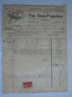 1937 Van Deun-Poppeliers Turnhout Peperkoek En Suikerbakerij Fabrique De Pain D'épices Facture Mont S/M Taxe 8 Fr - Alimentaire