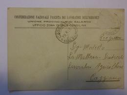 """Cartolina Postale """"CONFEDERAZIONE NAZIONALE FASCISTA DEI LAVORATORI DELL' AGRICOLTURA - SALA CONSOLINA""""  1938 - Storia Postale"""
