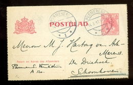 POSTBLAD Uit 1917 * GELOPEN Van PURMEREND Naar SCHOONHOVEN  (11.558L) - Postwaardestukken