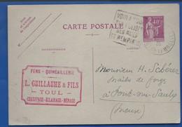 TOUL    Carte à Entête D'Entreprise  Quincaillerie  L.GUILLAUME   écrite En 1936 - Toul