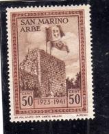 REPUBBLICA DI SAN MARINO 1942 RICONSEGNA AD ARBE DELLA BANDIERA ITALIANA CENT. 50 MNH - San Marino