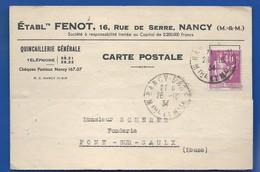 NANCY  Carte à Entête D'Entreprise   Quincaillerie FENOT  16 Rue De Serre      écrite En 1934 - Nancy
