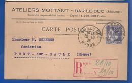 BAR-LE-DUC   Carte à Entête D'Entreprise   Ateliers MONTTANT       écrite En 1938 - Bar Le Duc