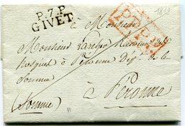ARDENNES De GIVET LAC Du 22/12/1819 Linéaire  De Port Payé 26x11 Et Verso Taxe De 5 Pour PERONNE - Postmark Collection (Covers)