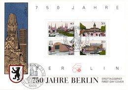 """Westberlin Schmuck-FDC Mi. Block 8 """"Blockausgabe: 750 Jahre Berlin"""" ESSt 15.1.1987 BERLIN 12 - FDC: Briefe"""