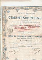 62-CIMENTS DE PERNES (PAS DE CALAIS). Action 1892 - Shareholdings