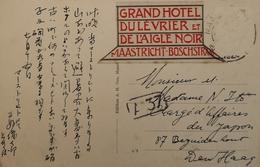 Maastricht // Reklame Grand Hotel Du Levriwr Et De L Aigle Noir - Boschstraat Op Maasbrug Kaart - Maastricht