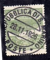 REPUBBLICA DI SAN MARINO 1925 VEDUTA VIEW LIRE 2 USATO USED OBLITERE' - San Marino