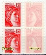 Paire Sabine 1974**_papier Fin Transparent-verso_G SM_(v436)_issue De Carnet De 20 Sans N° De Confectionneuse - Errors & Oddities