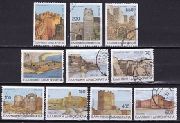 GREECE 1998 Castles Of Greece II Perforated 2 Sides Complete Used Set Vl. 2019 / 2028 A - Griekenland