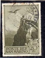 SAN MARINO 1944 CASE POPOLARI POSTA AEREA AIR MAIL LIRE 20+10 USATO USED OBLITERE' - San Marino