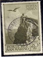 SAN MARINO 1944 CASE POPOLARI POSTA AEREA AIR MAIL LIRE 20 + 10 USATO USED OBLITERE' - San Marino