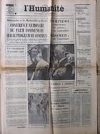 Journal L'Humanité (8 Juil 1972) Tour De France - Programme Commun - Eurotras - Noyers Sur Serein - Newspapers