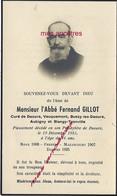 Faire-part De Décès 1951-abbé Fernand GILLOT Curé Daours Vecquemont, Bussy, Aubigny, Blangy - Décès