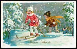 "ENFANT - CP -  3 Enfants Skiant - "" Bonne Année "" - Circulé - Circulated - Gelaufen - 1938. - Niños"