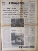 Journal L'Humanité (23 Fév 1972) Barbie/Bolivie - Avoir Fiscal - Lorraine - Métro - Henri Grangé - Newspapers