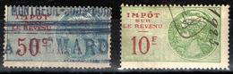 """France Fiscal - Revenus IRn°99 Et 105 (Y&T) Oblitérés-  1922 - Type """"Médaillon De Tasset"""" - Fiscaux"""