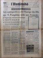 Journal L'Humanité (5 Avril 1972) Perspectives De L'Europe Des Dix - Charlie Chaplin - D Ivernel - Newspapers