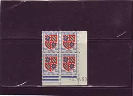 N° 834 -10c Blason De BOURGOGNE - F De E+F - 2° Tirage Du 29.11.50 Au 5.12.50 - Dernier Jour - - Coins Datés