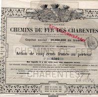 16-17-87-33- ANGOULEME-ACTION DE 500 FRANCS CHEMINS DE FER DES CHARENTES-CHARENTE -HAUTE VIENNE-GIRONDE- - Chemin De Fer & Tramway