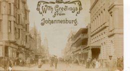 SOUTH AFRICA -  Greetings From Johannesburg - President Street - RPPC - VG Postmarks 1911 - Afrique Du Sud