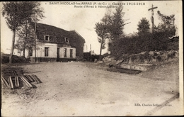 Cp Saint Nicolas Les Arras Pas De Calais, Route D'Arras A Henin Lietard - France