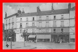 CPA (37) TOUR.  Place De La Gare, Animé, Café-restaurant LOUET, Tabac, Pharmacie...S1534 - Tours