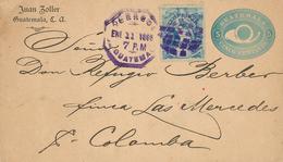 Ganzsache Brief Juan Zoller An Don Refugio Berber Finca Las Mercedes San Colomba 1895 5 Centavos - Guatemala