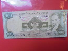 NICARAGUA 500 CORDOBAS 1985 CIRCULER (Dos Inscriptions) - Nicaragua