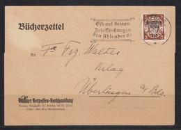 """Danzig Bücherzettel Der Danziger Vorposten-Buchhandlung Mit EF Dt.Reich 716 O """"Danzig 5/6.10.39/Gib Auf Deinen..."""" - Danzig"""