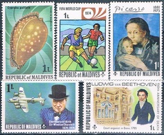 Maldivas 1974 / 79  -  Michel  506 + 521 + 542 + 689 + 808  ( ** ) - Maldivas (1965-...)