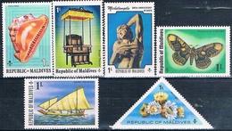 Maldivas 1975  -  Michel  551 + 561 + 577 + 595 + 604 + 613  ( ** ) - Maldivas (1965-...)