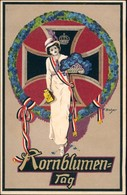 Ansichtskarte  Patriotika Frau Eisernes Kreuz Kronblumentag 1917 - War 1914-18